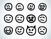 Hand drawn smile face. Vector design elements.
