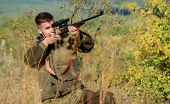 Aiming Skills. Hunter Hold Rifle. Hunting Permit. Bearded Hunter Spend Leisure Hunting. Hunting Equi poster