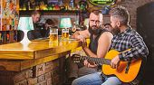 Man Play Guitar In Bar. Cheerful Friends Relax With Guitar Music. Friday Relaxation In Bar. Friends  poster