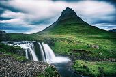 Kirkjufell Mountain And Waterfalls In Iceland, Travel Natural Background poster