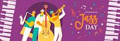 International Jazz Day Banner Illustration Of Live Music Band Playing Diverse Musical Instrument In  poster
