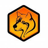 Wolf Face Logo Emblem Template For Business Or T-shirt Design Concept. Vector Wolf Vintage Design El poster