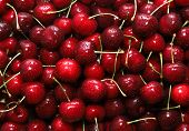 Close-up Of A Bunch Of Ripe Cherries With Peduncles. Large Collection Of Fresh Red Cherries. Ripe Ch poster