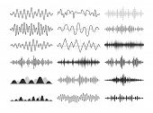 Black Musical Sound Waves. Audio Frequencies, Musical Impulses, Electronic Radio Signals, Radio Wave poster