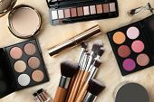 Set Of Different Professional Makeup Products On Furry Plaid, Flat Lay poster