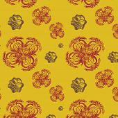 Yellow Seamless Background With Original Abstract Elements
