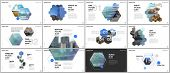 Minimal Presentations Design, Portfolio Vector Templates With Hexagons And Hexagonal Elements. Multi poster