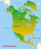 Detailed vector map of north america continent