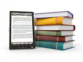 e-Book-Reader. Bücher und TabletPC. 3D
