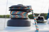 Boating And Marine Ropes.. View Of Winch Tied Ropes And Pulley On Sailing Boat Racer Cockpit . Safet poster