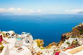 Panoramic View Of Santorini Island, Greece. Beautiful Summer Seascape. Famous Travel Destination poster