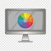 Computer Monitor With Color Spectrum Icon. Cartoon Illustration Of Computer Monitor With Color Spect poster