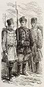 Polish riflemen old illustration. Created by Gaildrau, published on L'Illustration, Journal Universel, Paris, 1863