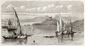 Corfu island old view, Greece. Created by Provost, published on L'Illustration, Journal Universel, Paris, 1863