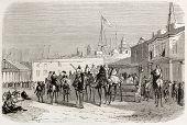 De Lesseps Abfahrt groß al Kabir in Richtung Gebel Geneffe mit Suez Gouverneur und britischer Konsul.