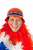 Dutch woman dressed in orange as a soccer fan
