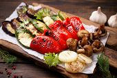 Summer Snack, Grill Bar, Tasty Barbecue Vegetables. Summer Delicious Healthy Food For A Big Company  poster