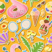 Vector Pattern With Images That Capture The Spirit Of Summer, Summertime Such As Flamingo Inflatable poster