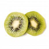 Two peeled kiwi fruit slices isolated on white background closeup. Kiwifruit slices without peel,  f poster