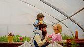 Eco Life. Eco Life Concept. Happy Family Has Eco Life. Eco Life For Happy Family In Greenhouse. Flow poster
