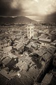 Lucca town skyline rooftop view with Bell Tower of Basilica di San Michele and sun ray in Italy. poster