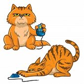 Cat Cartoon Set Playing With Computer Mouse Vector Illustration poster