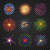 Big Set Of Different Fireworks With Shining Sparks. Colorful Pyrotechnics Show Elements. Realistic F poster