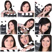 Collage of a woman with a clapperboard