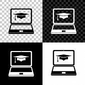 Graduation Cap And Laptop Icon. Online Learning Or E-learning Concept Icon Isolated On Black, White  poster