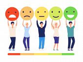 Customers Feedback Concept. People And Measuring Review Opinions Approval Recommendation Status. Emo poster