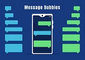 Blue And Green Blank Messaging Bubbles Collection. Empty Mobile Chat Design Elements And White Mobil poster