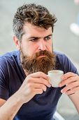 Bearded Man In Cafe. Brutal Male Needs Morning Refreshment. Drink Espresso Coffee. Morning Breakfast poster