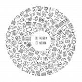 World Of Media And Entertainment Concept. Line Icons Of Analog And Digital Media Arranged In A Circl poster