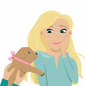Happy And Confused Girl Delighted For Puppy. Puppy With A Bow As A Gift. Flat Cartoon Style Vector I poster