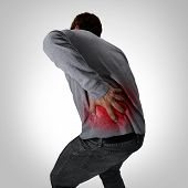 Painful Back Symptoms And Lower Spinal Pain Or Backache And Painful Spine Medical Concept As A Perso poster