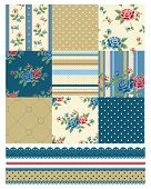 Classic Country Rose Seamless Patchwork Patterns.  Great for textile projects.