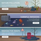 Waste Nature Banners. Toxic Trash In Rivers And Oceans Pollution Factory Problems Air Vector Picture poster