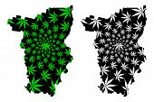 Perm Krai (russia, Subjects Of The Russian Federation, Krais Of Russia) Map Is Designed Cannabis Lea poster