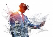 African Businessman Wearing Vr Headset Using Futuristic Interface. Mixed Media With 3d Objects. Busi poster
