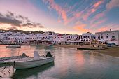 Old Port Of Mykonos City, Chora, On The Island Mykonos At Sunrise, Greece poster