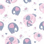 Elephant With A Baby Elephant In A Cute Style. Sweet Dream. Inscription. Vector. poster