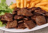 stock photo of french fries  - doner kebab with french fries - JPG