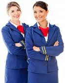 picture of flight attendant  - Beautiful flight attendants smiling  - JPG