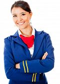 Beautiful stewardess smiling - isolated over a white background