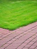 Garden Stone Path With Grass, Brick Sidewalk