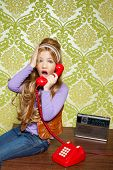 image of babbler  - kid girl retro hip vintage talking busybody with red telephone - JPG