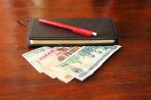 Lao Currency Banknotes, Pen, And Personal Savings Notebook Laying On Wooden Table - Lao Kip Banknote poster