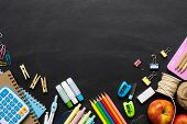 Back To School Background Concept. School Supplies On A Chalkboard Background. Education Background  poster