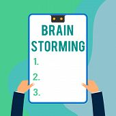 Conceptual Hand Writing Showing Brain Storming. Business Photo Text Stimulating Creative Thinking De poster