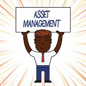 Conceptual Hand Writing Showing Asset Management. Business Photo Showcasing Systematic Process Of Op poster